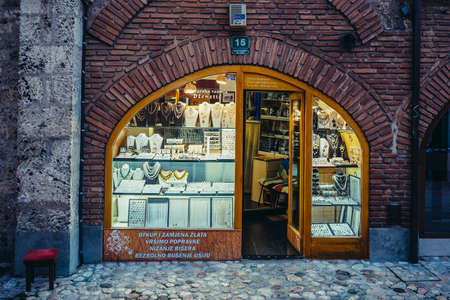Sarajevo, Bosnia and Herzegovina - August 23, 2015. Jewellery store at Gazi Husrev-beg Bezistan covered market at old bazaar and the historical and cultural center of the Sarajevo called Bascarsija