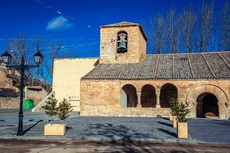 Exterior view of Church of Santa Maria La Mayor in Penalba de San Esteban village in Soria region of Spain