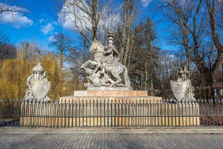King Jan III Sobieski statue in Lazienki park in Warsaw, capital city of Poland