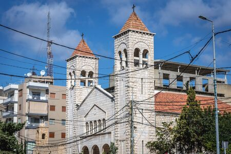 Exterior view of Al Saydeh Maronite Church in Beirut, capital city of Lebanon