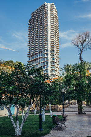 Tel Aviv, Israel - October 20, 2015. Modern residential building called Nehoshtan Tower in historic Neve Tzedek district (lit. Abode of Justice) of Tel Aviv