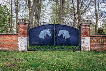Drezewo, Poland - May 11, 2017: Gateway of abandoned mansion in Drezewo, small village near Baltic Sea coast in West Pomerania region
