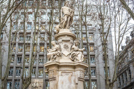 Madrid, Spain - January 22, 2019: Fountain of Apollo in front of ICO Fundacion building in Madrid city