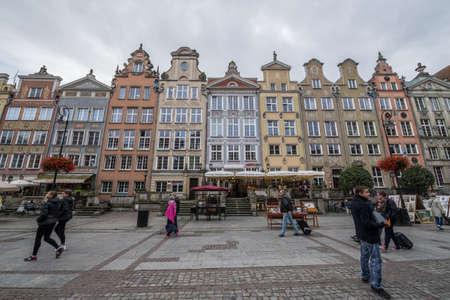 Gdansk, Poland - 17th October 2014: Tourists walks on Dlugi Targ Street  Long Market) on Old Town in Gdansk