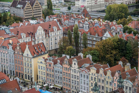 Gdansk, Poland - 17th October 2014: Aerial view from Basilica of the Assumption of the Blessed Virgin Mary known as St. Mary's Church on Old Town in Gdansk