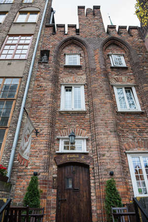 Gdansk, Poland - 17th October 2014: oldest tenement from 1451 in city at Mariacka Street, most famous street in Main Town of Gdansk Redactioneel