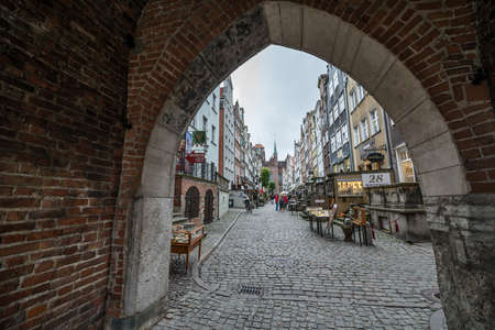 Gdansk, Poland - 17th October 2014: Tourists at Mariacka Street, most famous street in Main Town of Gdansk Redactioneel