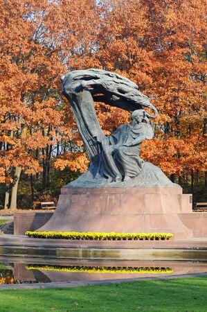 Polish pianist Frederic Chopin monument designed by Waclaw Szymanowski in 1907 in Royal Baths park in Warsaw, Poland