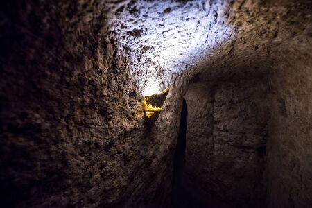 Passageway of Nooshabad (Nushabad) underground city called Ouee in Iran Фото со стока