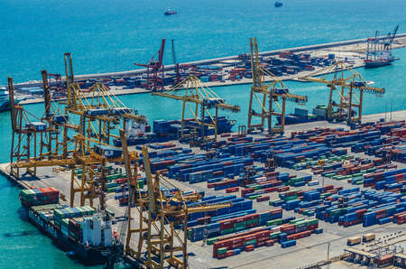 Barcelona, Spain - May 22, 2015. Containers and cranes in Port of Barcelona Editoriali