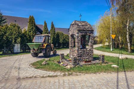 Lacko, Poland - May 13, 2017: Small chapel in Lacko village within Slawno County near Baltic Sea coast