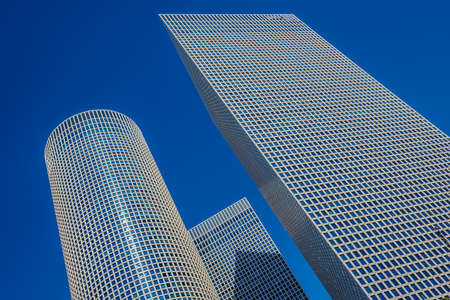 Tel Aviv, Israel - October 21, 2015. View of Azrieli Center complex of three skyscrapers in Tel Aviv