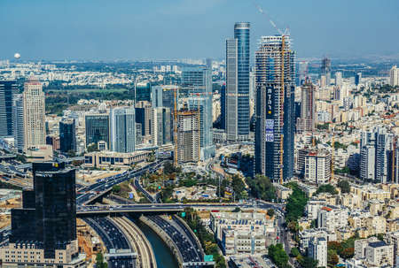 Tel Aviv, Israel - October 21, 2015. Aerial view of Ramat Gan district from 49th floor of Circular Tower, one of three skyscrapers of Azrieli Center complex in Tel Aviv