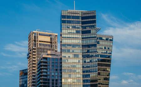 Tel Aviv, Israel - October 20, 2015. Modern office buildings and residential skyscrapers seen from Rothschild Boulevard