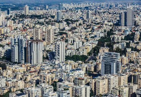 Tel Aviv, Israel - October 21, 2015. Aerial view from 49th floor of Circular Tower, one of three skyscrapers of Azrieli Center complex in Tel Aviv