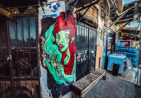 Tel Aviv, Israel - October 21, 2015. Graffiti by Missk? in Florentin district of Tel Aviv
