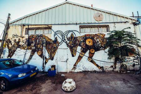Tel Aviv, Israel - October 21, 2015. Graffiti by Dede in Florentin district of Tel Aviv