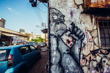 Tel Aviv, Israel - October 21, 2015. Graffiti in Florentin district of Tel Aviv