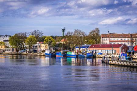 Mrzezyno, Poland - May 11, 2017: View on the river Rega in Mrzezyno coastal town on the Baltic coast Publikacyjne