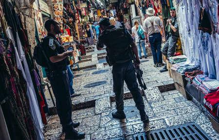 Jerusalem, Israel - October 22, 2015. Officers of Israeli Border Police called Magav on Arab baazar located inside the walls of the Old City of Jerusalem