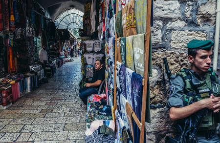Jerusalem, Israel - October 22, 2015. Officer of Israeli Border Police called Magav on Arab baazar located inside the walls of the Old City of Jerusalem
