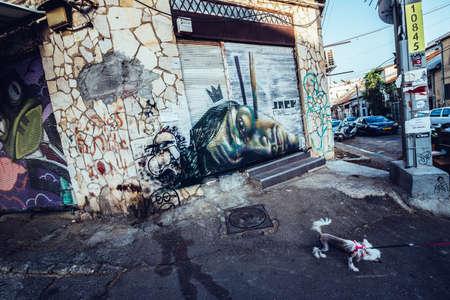 TEL AVIV, ISRAEL - OCTOBER 21, 2015. graffiti street art on the roller shutter of small store in Florentin district of Tel Aviv Editorial
