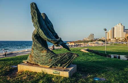 Tel Aviv, Israel - October 21, 2015. Statue created by Ilana Goor in small park in Tel Aviv