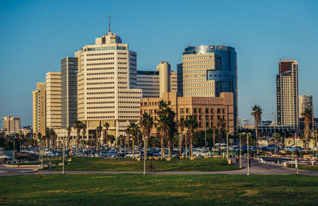 Tel Aviv, Israel - October 21, 2015. View of office buildings in Tel Aviv. Beit Textil, Gibor House, Trade Tower on photo
