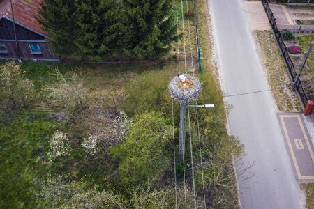 Drone view on a white stork nest in small village in Mazowsze region of Poland
