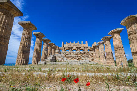 Front view of Temple of Hera (Temple E) in Selinunte, ancient Greek city on Sicily island, Italy Editorial