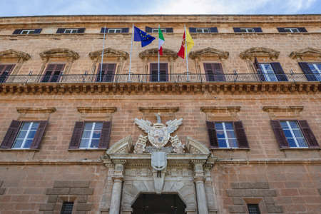 Facade of Normans Palace located on Parlament Square in Palermo city on Sicily Island, Italy