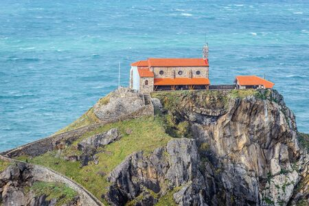San Juan de Gaztelugatxe hermitage on a small isle on the Atlantic shore in Biscay region of Sapin