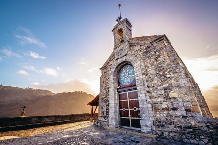 Chapel of San Juan de Gaztelugatxe hermitage on a small isle on the Atlantic shore in Biscay region of Sapin