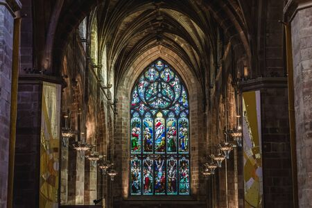 Stained glass in cathedral of Saint Giles in Edinburgh city, UK