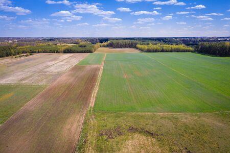 Drone aerial photo of fields around small Jaczew village in Mazowsze region of Poland