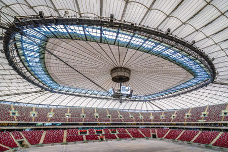Warsaw, Poland - September 14, 2017: Interior of PGE Narodowy also known as National Stadium in Warsaw city, capital of Poland