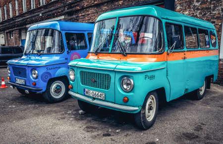 Warsaw, Poland - April 3, 2017: Vintage Nysa 522 vans in Warsaw, Poland