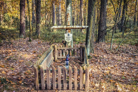 Kampinos Forest, Poland - October 18, 2017: An anonymous grave from World War II in Kampinos Forest complex in Masovia region