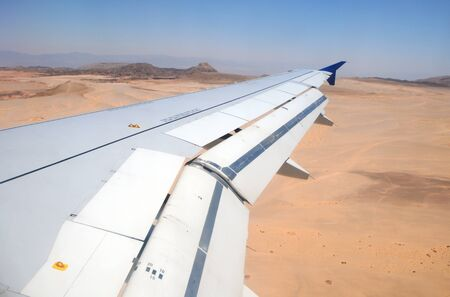 passenger plane during approach landing on Taba airport in Egypt Foto de archivo