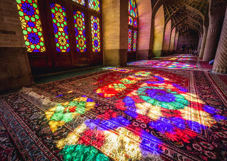 Shiraz, Iran - October 23, 2016: Interior of Nasir ol Molk Mosque also known as Pink Mosque in Shiraz, one of the most famous mosques in Iran