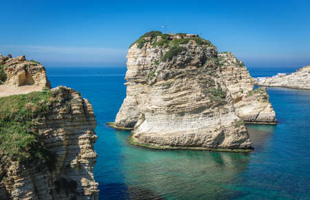Famous Raouche Rocks also called Pigeon Rock in Beirut, capital city of Lebanon