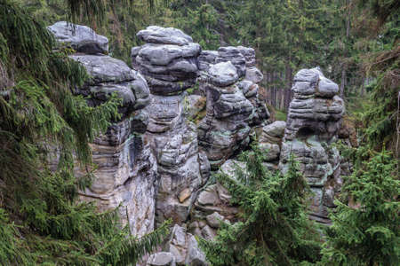 Rock stacks in Mount Ostas reserve in Table Mountains, part of Broumovsko Protected Landscape Area in Czech Republic