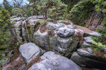 Rocks in Mount Ostas reserve in Table Mountains, part of Broumovsko Protected Landscape Area in Czech Republic 免版税图像