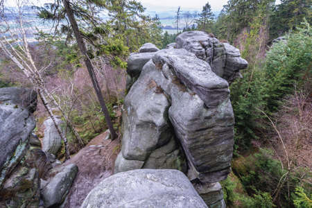 View from rocks stack in Mount Ostas reserve in Table Mountains, part of Broumovsko Protected Landscape Area in Czech Republic
