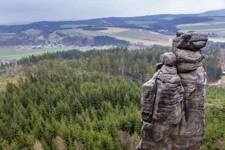 Rock stack in Mount Ostas reserve in Table Mountains, part of Broumovsko Protected Landscape Area in Czech Republic