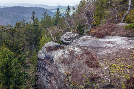 Mount Ostas reserve in Table Mountains, part of Broumovsko Protected Landscape Area in Czech Republic