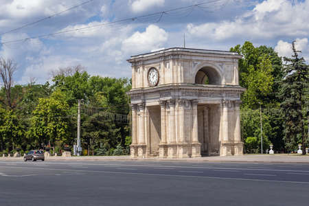 Triumphal Arch on the edge of Cathedral Park in Chisinau city, Moldova