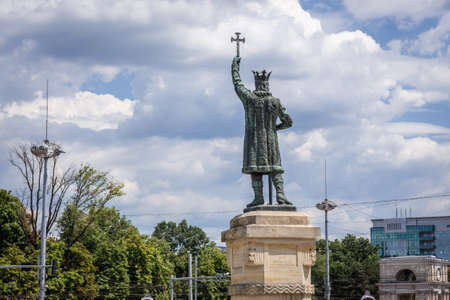Stephen III The Great monument in Chisinau city, Moldova 免版税图像 - 151124643