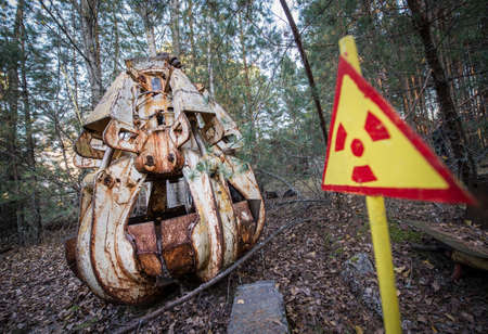 grapple in Pripyat ghost town, Chernobyl Nuclear Power Plant Zone of Alienation, Ukraine