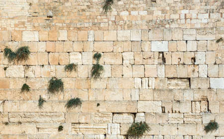 Close up on Western Wall also called Wailing Wall in Jerusalem, Israel